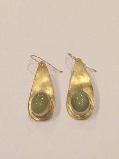 Aventurine jade bezel teardrops by guadalupejewelry on Etsy, $90.00