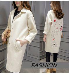 [Soonyour] 2016 осень и зима свободные вышивка модели белый с длинными рукавами долго кокон пальто пальто шерстяное женщина AS18810Sкупить в магазине soonyour fashionable StoreнаAliExpress