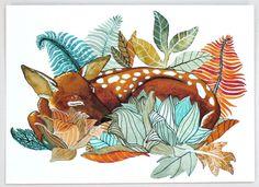 Deer Watercolor Painting, Illustration Art, Archival Print - 5x7 Oh Deer