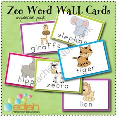 Zoo Themed Word Wall Cards from edlah Preschool Resources  on TeachersNotebook.com (6 pages)  - Zoo Word Wall Cards from edlah.com