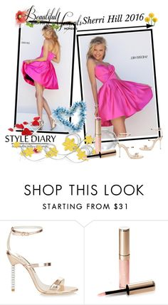 """A Line Sherri Hill 50147 Sweetheart Fuchsia Homecoming Dress"" by chicpromdress ❤ liked on Polyvore featuring Sherri Hill, Sophia Webster and By Terry"