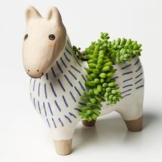 This cute ceramic horse planter with a sand-glaze finish and hand painted details, makes for the sweetest pal for a side table, desk, or children's room. Homewares Online, Paint Finishes, Earthenware, Piggy Bank, Kids Room, Planters, It Is Finished, Pottery, Hand Painted
