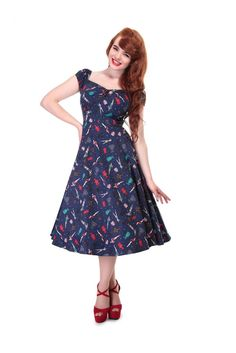 153e81a9c2 Collectif Navy Blue Pin Up Doll Dress. Collectif Navy Blue Pin Up Doll Dress  – Pretty Kitty Fashion