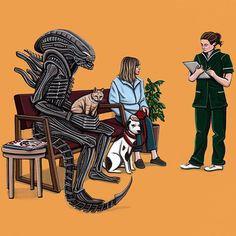 "Chicago-based artist Kiersten Essenpreis - ""Alien Takes Jonesy to the Vet"" (Alien)"