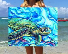 "We survived the tropical storm & it's a hot one today! ⚡️ Gonna have to cool off in the sea after shipping this aluminum of ""Honu Kai"" to… Sea Turtle Painting, Sea Turtle Art, Sea Turtles, Painting Inspiration, Art Inspo, Tropical Art, Ocean Art, Beach Art, Painting & Drawing"