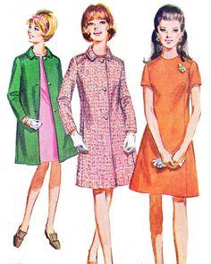 1960s Mod Princess Seam A Line Dress Winter Coat by paneenjerez, $16.00