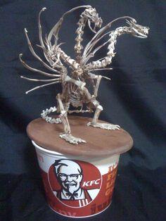 Japanese Artist Uses KFC Chicken Bones to Make a Sculpture of King Ghidorah From Godzilla Films