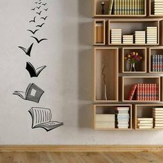 Wall Art Decor Decals Removable Mural Vinyl Wall Decals, Classroom Library, Open Book Reading Room, Home Study, Living Room Bedroom Decoration Sticker Creative Wall Painting, Creative Wall Decor, Wall Painting Decor, Art Decor, Painting Designs On Walls, Room Stickers, Vinyl Wall Stickers, Bedroom Wall Stickers, Wall Stickers Home Decor