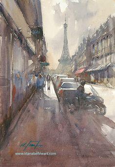 """Eiffel Tower, Paris III"" watercolor by Keiko Tanabe"