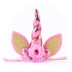 Baby / Newborn Unicorn Headband with Pink Horn, Lace and Flowers with Ears