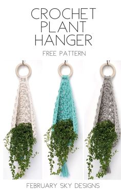 Make your own crochet plant hanger using Bernat Home Dec yarn with this free pattern by February Sky Designs projects free Crochet Plant Hanger Free Pattern by February Sky Designs Crochet Vintage, Crochet Diy, Crochet Motifs, Crochet Home Decor, Love Crochet, Crochet Gifts, Crochet Flowers, Crochet Stitches, Crochet Patterns