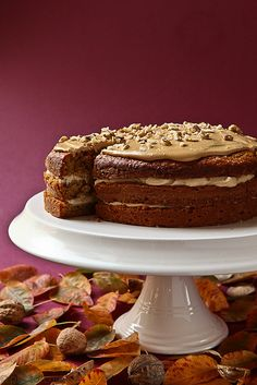 Utterly gorgeous for any autumn fete of special meal: Coffee Walnut Cake. #cake #fall #autumn #food #dessert #baking #walnut #coffee #Thanksgiving