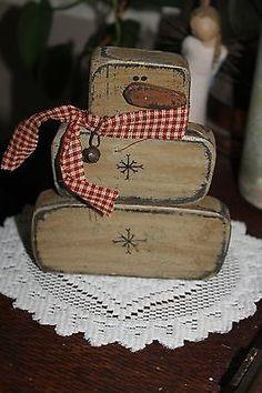 Primitive Winter/Christmas Snowman w Rusty Bell wire Shelf Sitter