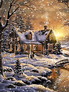 MOVING Snowing Cabin  Photo - Snowing Christmas House Gif ((Click Photo & Enjoy!))