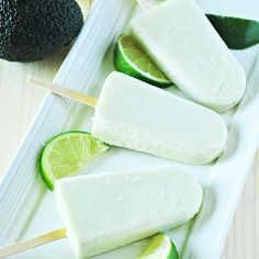 Avocado Lime Popsicles Recipe Desserts with avocado, coconut cream, maple syrup, bananas, lime juice, lime zest