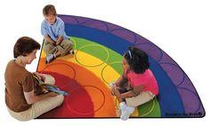 CK-1262 Rainbow Rows Carpet, 6' x 12' Semi-Circle