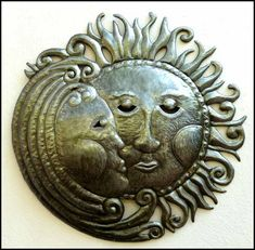 NEW - Sun and Moon Metal Wall Hanging - Haitian Steel Drum Art - 24""