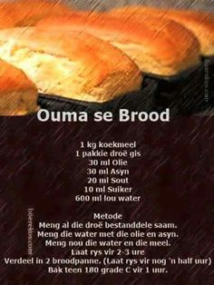 Food recipes from all over the world. Kos, Ma Baker, African Dessert, Braai Recipes, Bread Bun, Easy Bread, Bread Rolls, South African Recipes, Our Daily Bread