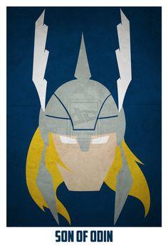 Thor Minimalist Comic Book Portrait by Artist Andres Romero