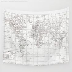 World map - white on white - from society6.com