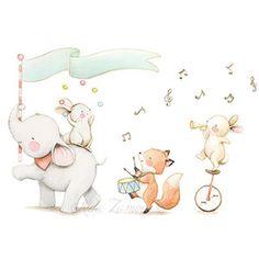 Ilustración infantil banda de música animales