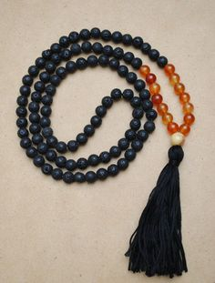 Lava Stone Carnelian and Crazy Lace Agate Mala Necklace Yoga Jewelry Meditation Beads by theMalaSphere