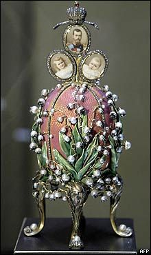 Lilly of the Valley Egg presented to the Czarina Alexandra at Easter in 1898.