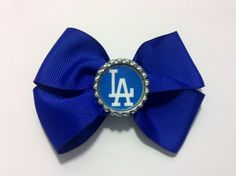 Los Angeles Dodgers bottle cap bow by SamiBowtique on Etsy, $5.50