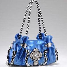 Zebra Print Studded Rhinestone Cross Handbag Purse Blue