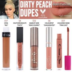 Kylie Cosmetics Dirty Peach Liquid Lipstick Dupes - All In The Blush Drugstore Makeup Dupes, Lipstick Dupes, Beauty Dupes, Liquid Lipstick, Lipsticks, Lipstick Swatches, Elf Dupes, Kylie Lipstick, Eyeshadow Dupes