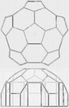 Plans for a simple geodesic greenhouse or shed.