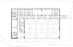 Image 17 of 26 from gallery of Lussy Sport Hall / Virdis Architecture. Swimming Pool Architecture, Gym Architecture, Concept Models Architecture, Mix Use Building, Building Design, School Floor Plan, Gym Facilities, Hall Flooring, Sports Complex
