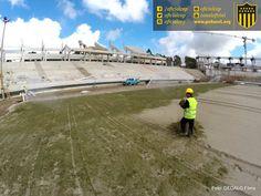 #EstadioCAP   Postales de las obras de construcción del Estadio de Peñarol.  *Primer día de siembra de la cancha