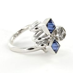 Sterling Silver Created Tanzanite & Herkimer Diamond Adjustable Ring by Lilly Barrack $375.00