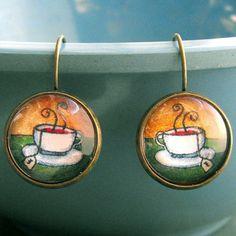 Morning Tea Earrings Tea Cup Teacup Jewelry by ALikelyStory, $19.95