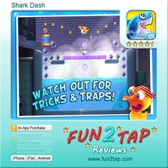 Shark Dash - Really cute challenging physics puzzle. Full review at: http://fun2tap.com/index.cfm#id26 --------------------------------------  #Apps  #Games #iPad #iPhone #Casualgames