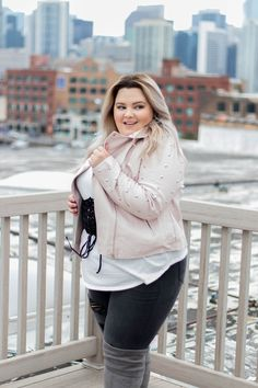 Chicago Plus Size Fashion Blogger Natalie Craig reviews Charlotte Russe's wide-calf, faux suede, knee-high boots, hi-rise skinny jeans, corset-detail crew neck, and faux leather studded Moto jacket.
