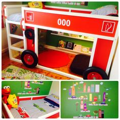 Kura fire truck. Kura fire engine. Idea from the original kura fire truck on ikea hackers site. Used Kura bed into a fire truck / fire engine. Led strip lights underneath for reading nook, ikea picture rails for book nook, steering wheel underneath, hose, and tyres  from bunnings, ikea mats, wall art from Rosenberry rooms, bedding from Adairs