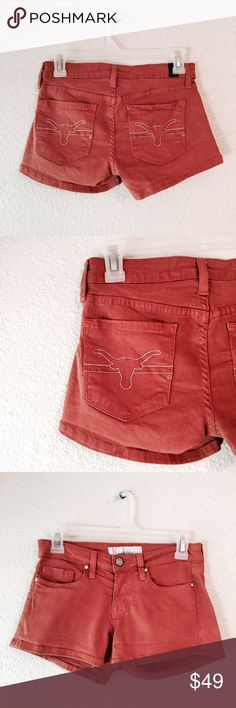 UT Austin Longhorn Denim Jean Shorts Texas Amazing University of Texas, Austin Jean Shorts. Made of burnt orange Stretch Denim with longhorns stitched on the back pockets. OCJ brand, premium collegiate apparel. The brand no longer makes clothes for UT Austin, so these are rare and hard to find! They have a little bit of fading but otherwise great condition. Retail at $88 new. Size 24. OCJ Shorts Jean Shorts