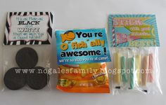 Girls camp pillow treats, cleanest cabin treats...You're o fish ally the cleanest cabin...etc.