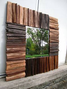 Ombre Stained Walnut Wood Wall Art Mirror