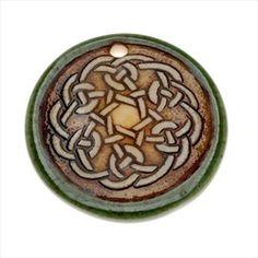 Clay River Designs Glazed Porcelain Pendant Disc Moss Green W/ Celtic Knot 31mm (1)