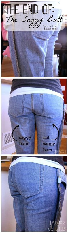 How to Take in only PART of your pants - includes fixing saggy in the butt and waist gap