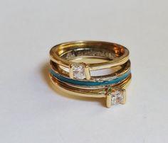 RING SET Size 7 : Diferently Designed Set of by EVAJewleryStore
