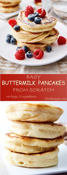 Five ingredient, super easy buttermilk pancakes from scratch. Fluffy and airy texture. No eggs required in this pancake batter recipe. These are the best buttermilk pancakes, hands down.