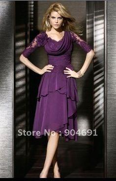 Ruffled Purple Green Fuchsia Black Lace Chiffon Evening Dress Knee Length A-line Mother of The Bride Dress Mid Sleeve Prom Dress