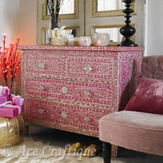 Beautiful pink indian hand crafted/painted drawers