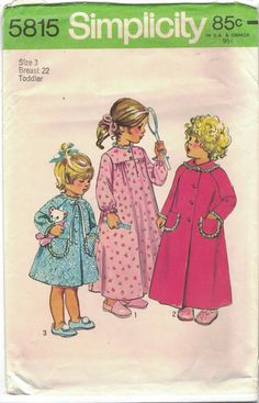 Vtg Simplicity 5815 Toddler Girls Robe Nightgown Pattern Size 3 Breast 22 1970s #Simplicity