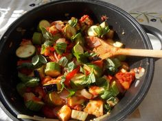 Recipe for ratatouille with canning instructions.