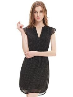 Shop Black Polka Dot Print Zip V-neck Cap Sleeve Dress from persunmall.com .Free shipping Worldwide.